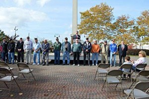 Bradley Beach Mayor Gary Engelstad speaks to residents and veterans during the borough Veterans Day ceremony in Riley Park Nov. 11. - Coaster photo.
