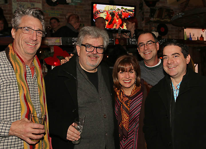 Enjoying a drink Jan. 1 at Johnny Mac House of Spirits in Asbury Park were city residents Gene Mignola, Keith Johnson, Celia Morrissette, Scott Hamm and Joe Grillo.