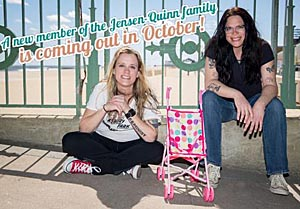 Quinn announced her pregnancy on Facebook with this photo.