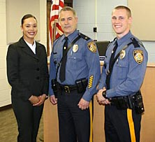 Ocean Township Police Chief Steve Peters (center) is pictured with new police officers Glennis Del Carmen (left) and Jeffrey C. Algor.