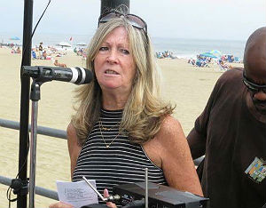 Asbury Park councilwoman and Bruce Springsteen Archives director Eileen Chapman, at last summer's Asbury Angels dedication ceremony.