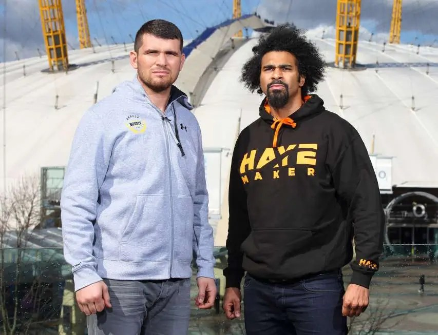 David Haye and Arnold Gjergjaj attend photocall for the announcement that the former two-weight world champion David Haye will face the undefeated Arnold 'The Cobra' Gjergjaj on Saturday May 21 at The O2 in London
