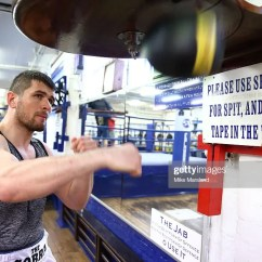 LONDON, ENGLAND - MARCH 29: Arnold Gjergjaj tranning at the Peacock Gymnasium before attending a photocall for the announcement that the former two-weight world champion David Haye will face the undefeated Arnold 'The Cobra' Gjergjaj on Saturday May 21 at The O2 in London (Photo by Mike Marsland/Mike Marsland/WireImage)