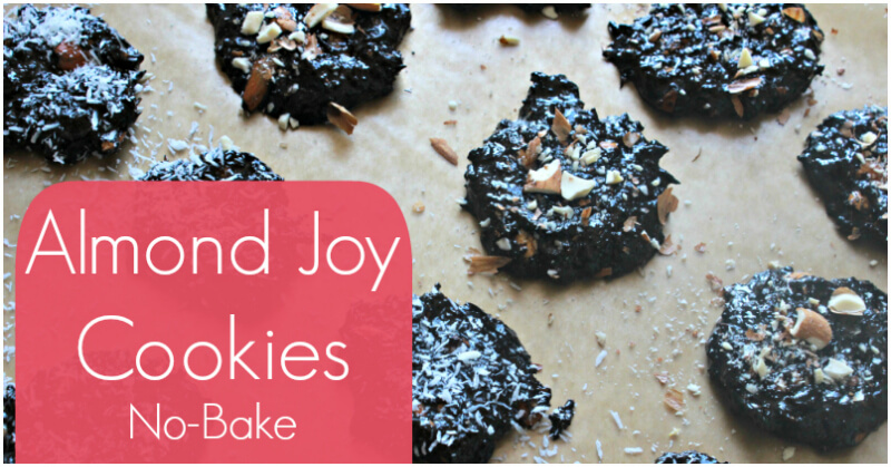 No Bake Almond Joy Cookies with Coconut Oil