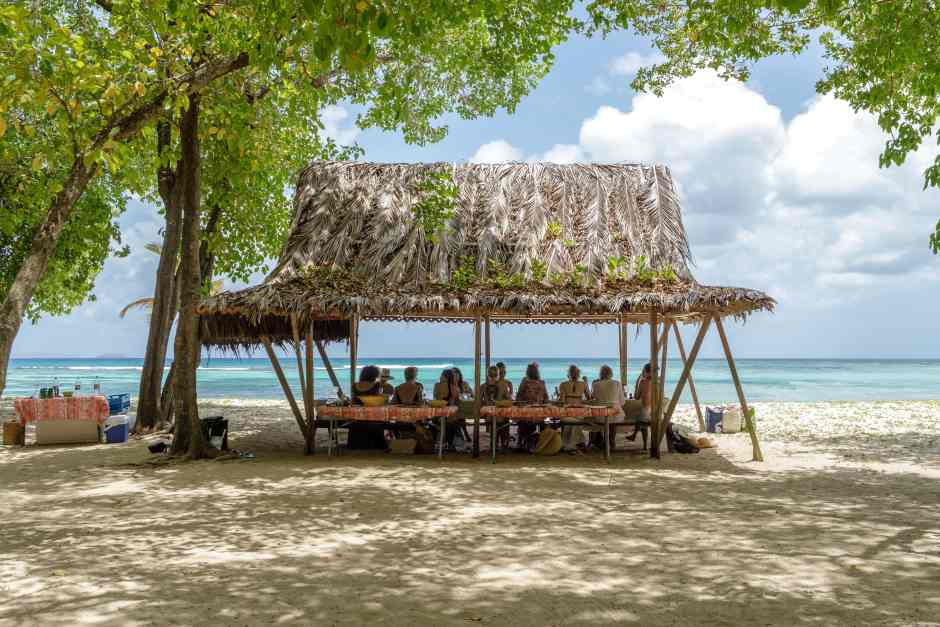 A beach picnic on Mustique, in The Grenadines