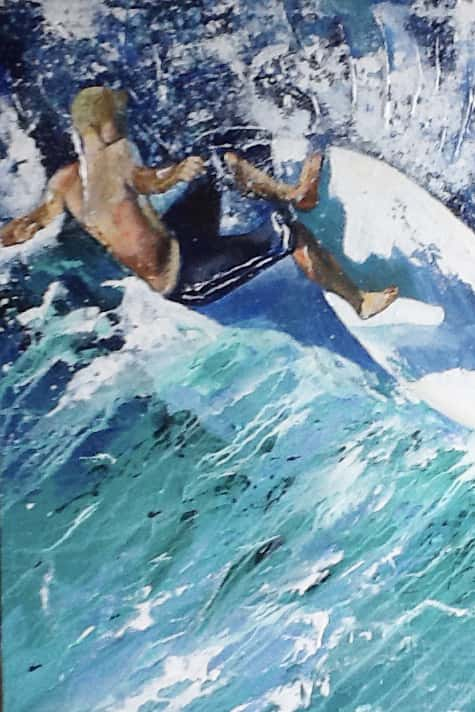 Painting of surfer by Jan Farara from Antigua (details)