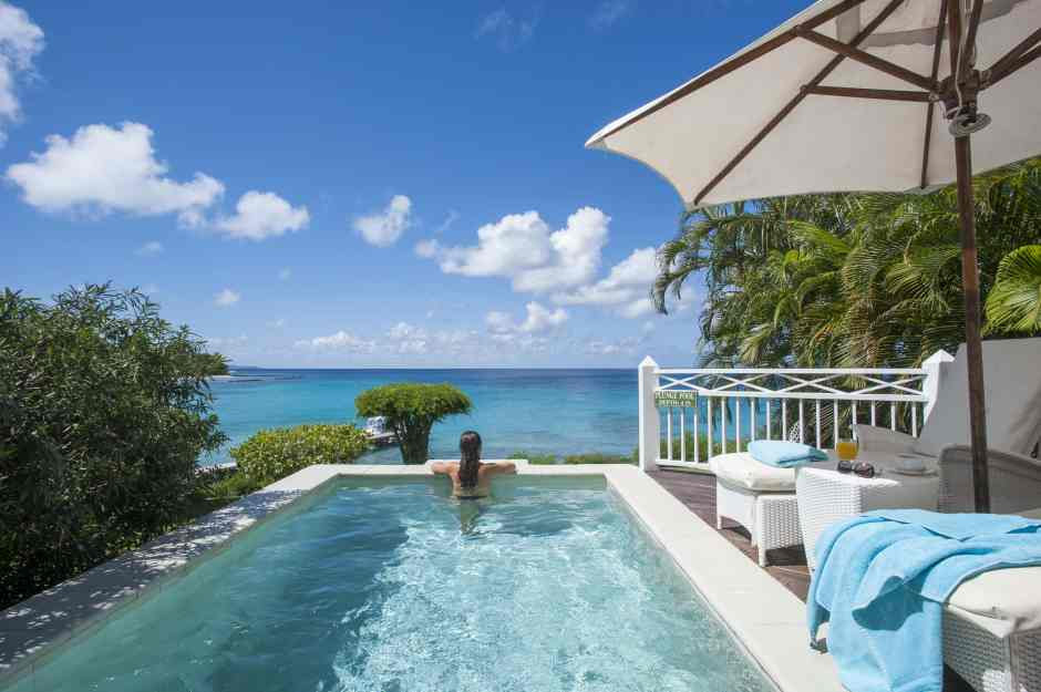 A deluxe seaview room at The Cotton House, Mustique, in The Grenadines