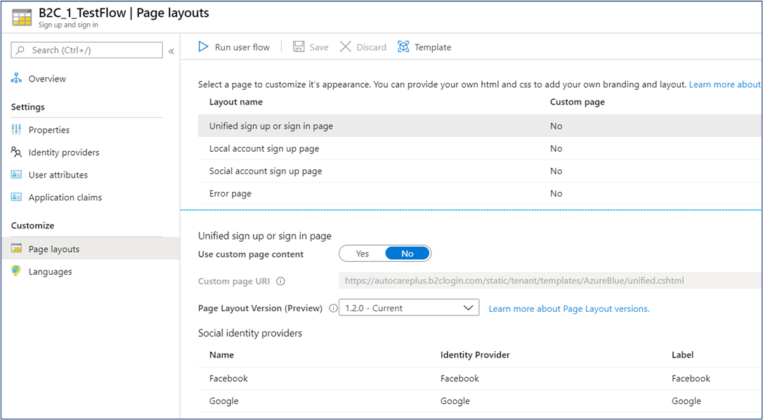 Azure AD B2C - Set page layout version for seeing custom background image