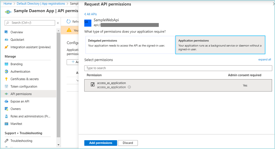 Application permissions for calling API from Daemon App