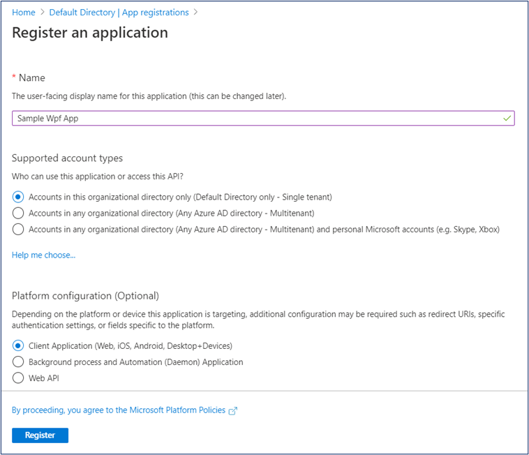 Register WPF App in Azure AD