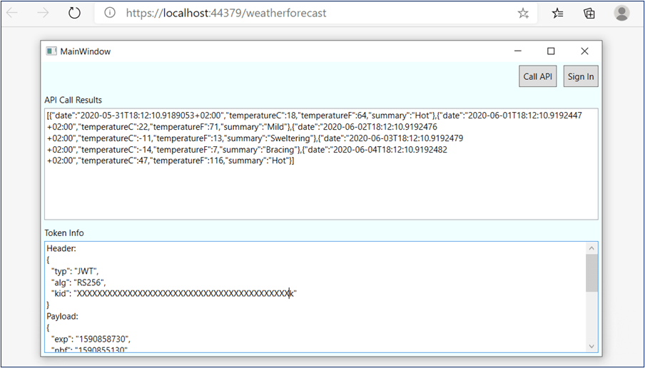 Azure AD B2C - WPF App successfully called Web API