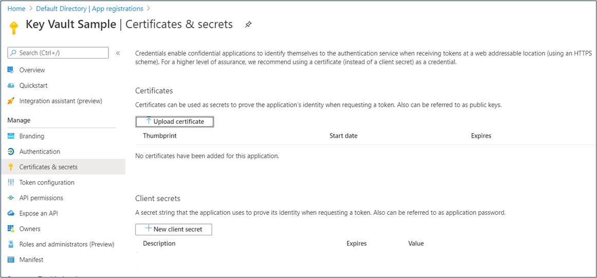 Azure Portal: Upload certificate in app registration