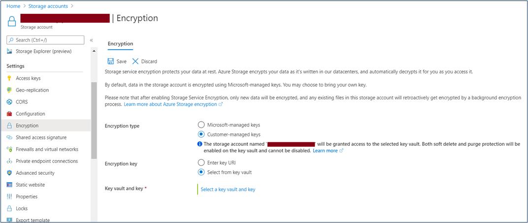 Storage Account Encryption Options