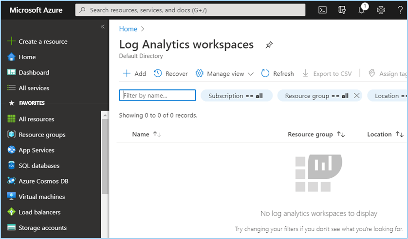Azure Portal: Log Analytics workspaces