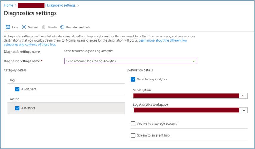 Azure Portal: diagnostic setting for enabling resource log