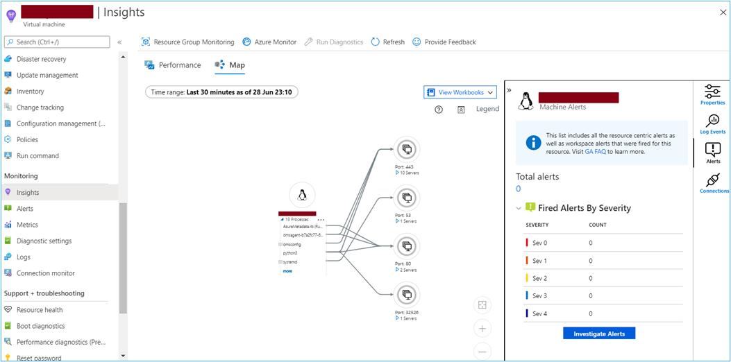 Azure Portal: Map tab from Virtual Machine Insights