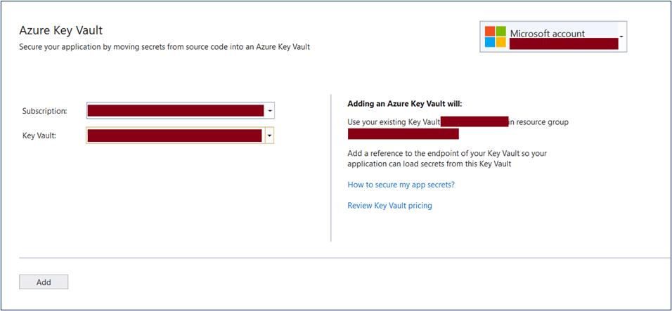 Select existing key vault in Visual Studio