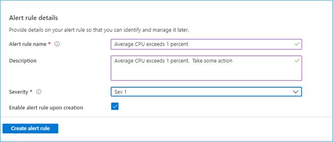 Azure Portal: Alert Rule Details