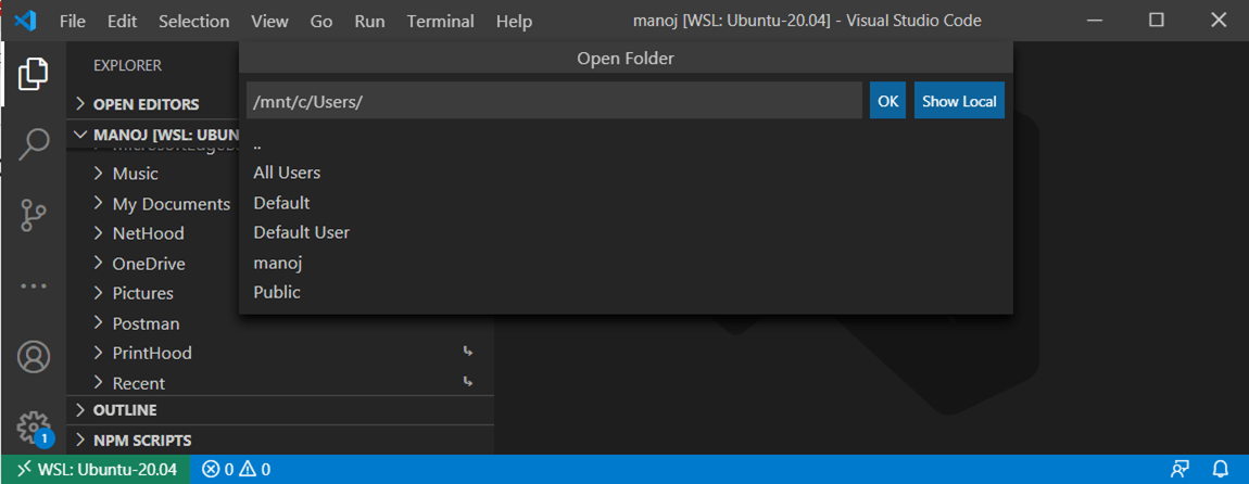 Visual Studio Code Client Opened by Windows
