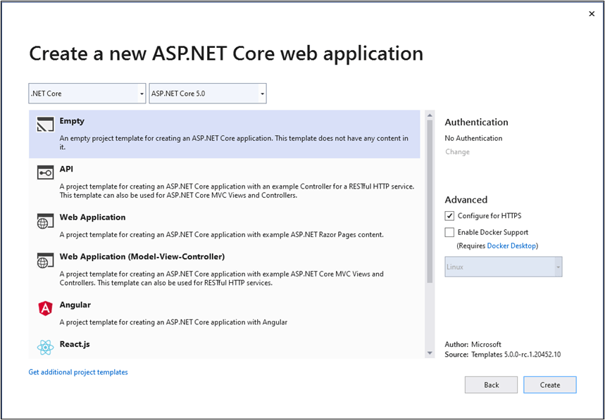 ASP .NET Core 5 Web Application