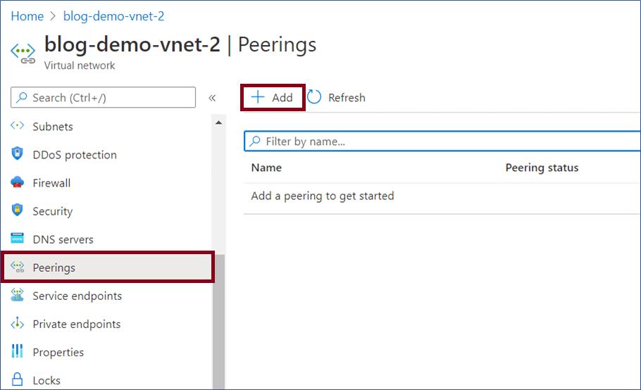 Azure Portal: Add peering option in the virtual network left navigation