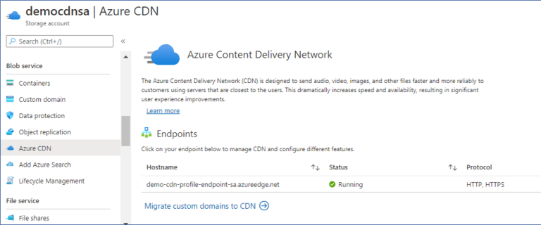 Azure Portal: CDN Endpoint associated with storage account