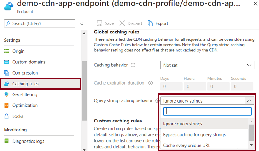 Azure Portal: Azure CDN Endpoint Caching Rules for Caching Every Unique URL