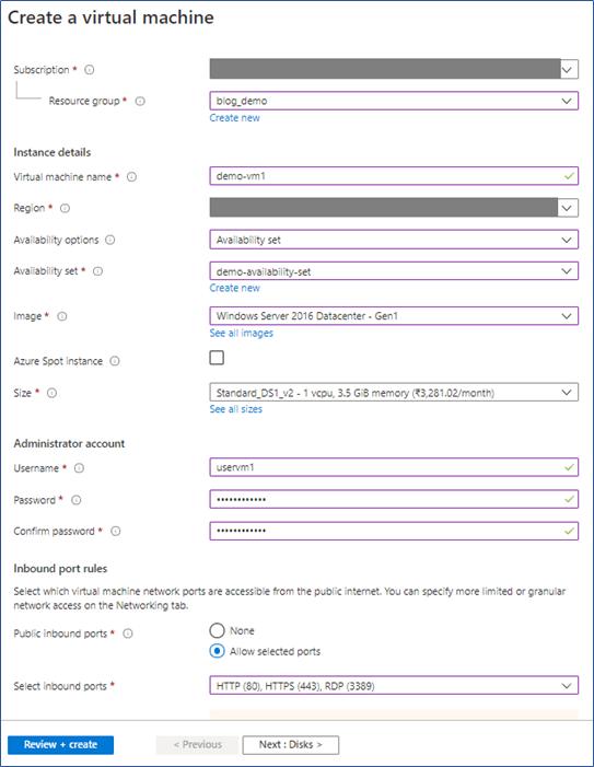 Azure Portal: Create a virtual machine in an availability set