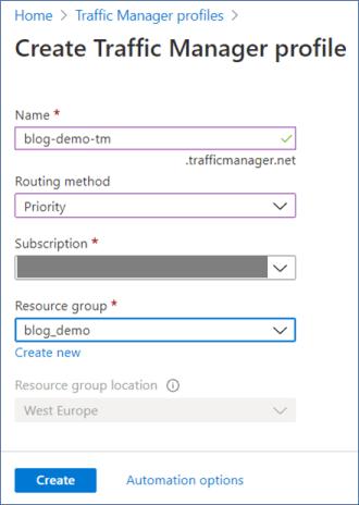 Azure Portal: Create new traffic manager profile