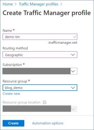 Azure Portal: Create traffic manager profile