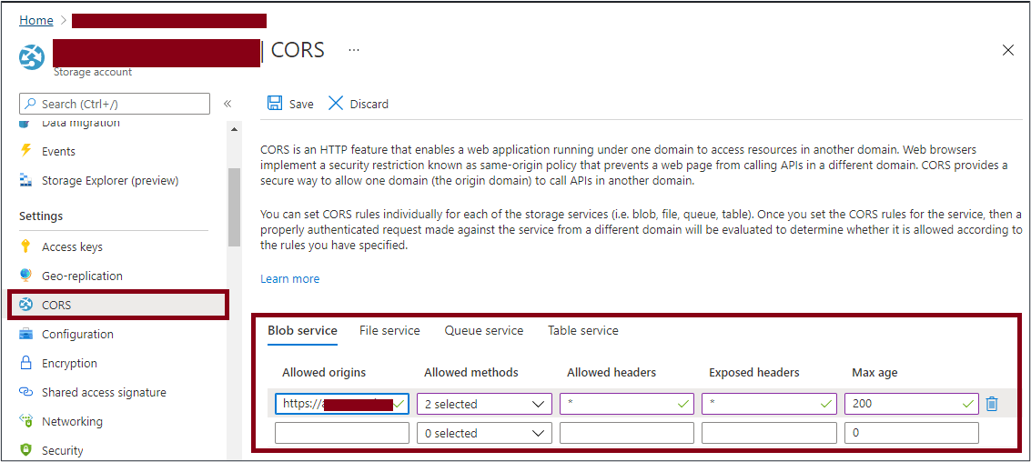 Azure Portal: set CORS for the storage account