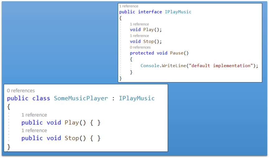 C# 8 and default implementation for methods in an interface
