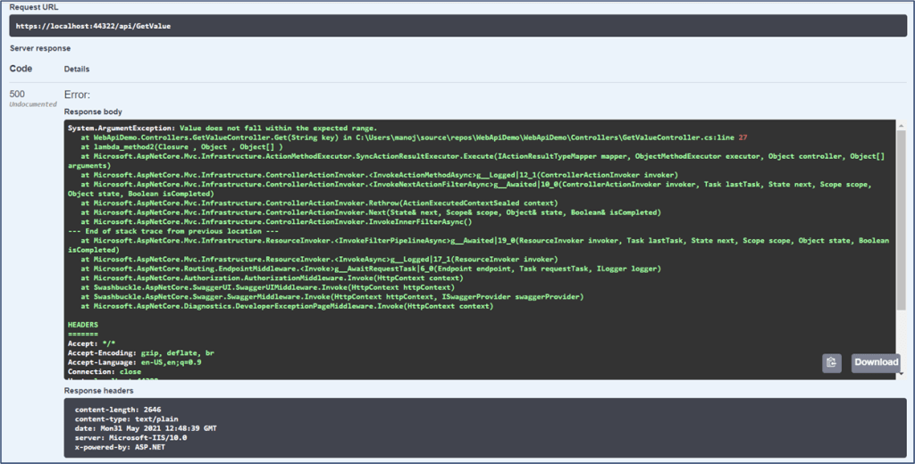 Swagger UI - Showing plain text response from .NET Core Web API