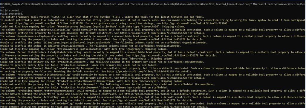 .NET EF Core - Warnings while scaffolding models