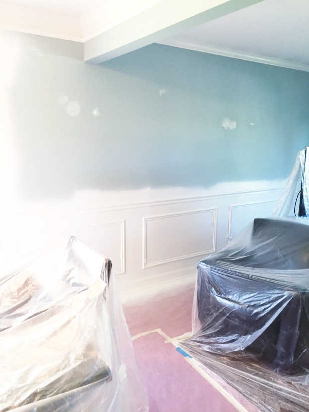 liv room wainscoting white