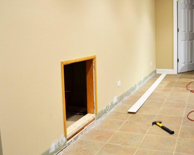 Lighting Basement Washroom Stairs: DIY Crawl Space Barn Door