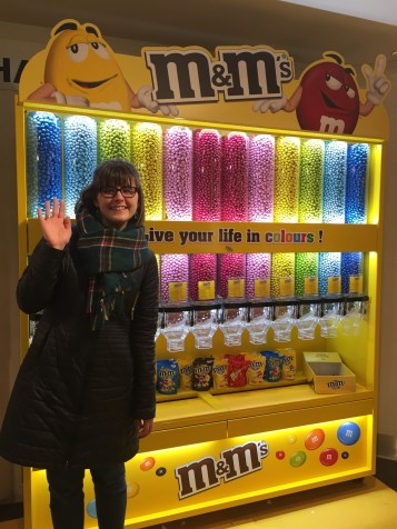 Anna in front of the M&Ms