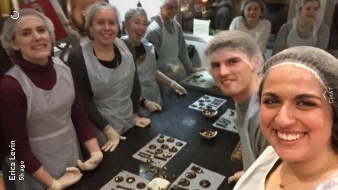 Making chocolate with my friends/classmates!
