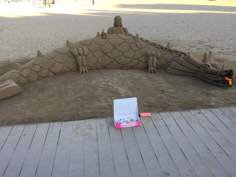 Sand sculpture of a fire breathing dragon! (Yes it actually had fire coming out of it!)
