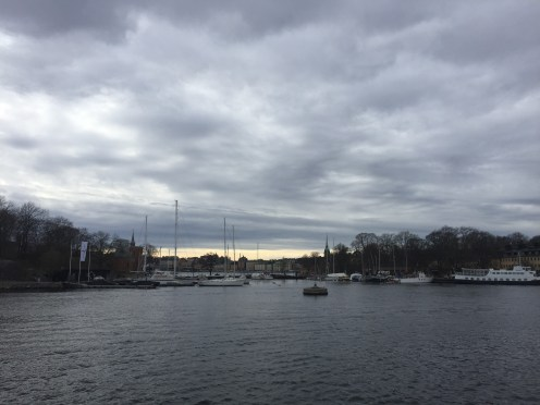 Stockholm under a cloudy sunset
