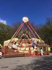 Classic colorful amusement park ride
