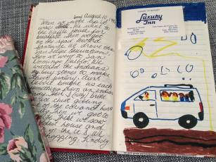 Journal entry from a family trip to the Four Corners Monument in 1992. Marker artwork made by me and my older sister, Kelly.