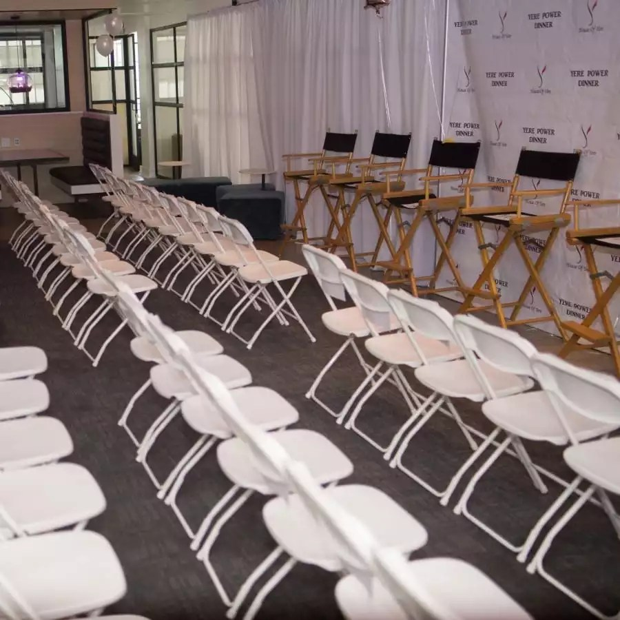 Setting Up a Corporate Panel and Theater for One of Our Events Hosted at the Collection