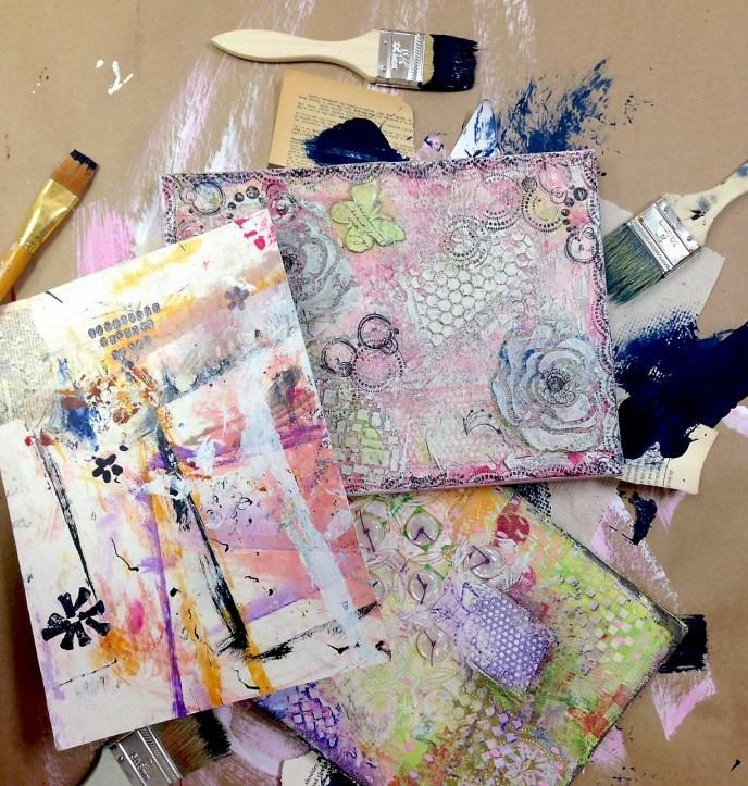 Create art with Abandon mixed media class