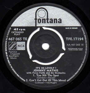 Johnny Mathis With Percy Faith & His Orchestra- It's De Lovely
