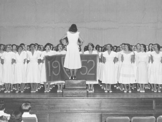 Connecticut College, Competitive Sing in Palmer Auditorium. April 23, 1952. Dresses are students' own. Photo by Robert L. Perry, New London, Connecticut.