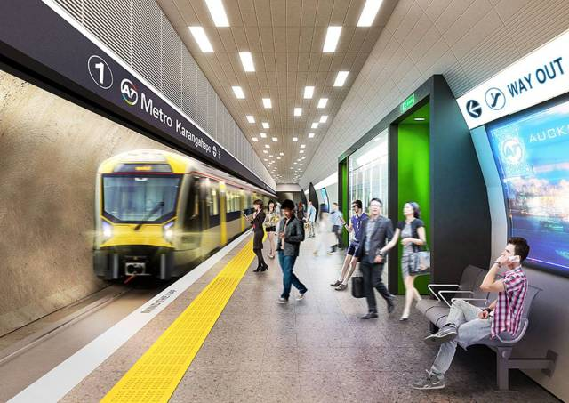 Concept images of an underground platform at the new, planned K Road station