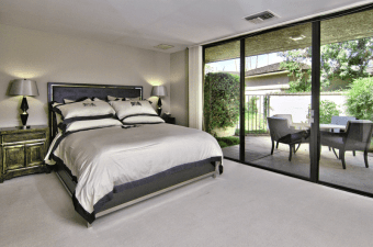 master bedroom with gray accents