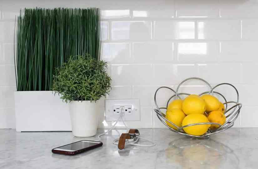 Timeless finishes, kitchen electrical outlets, subway tile backsplash, USB ports in kitchen