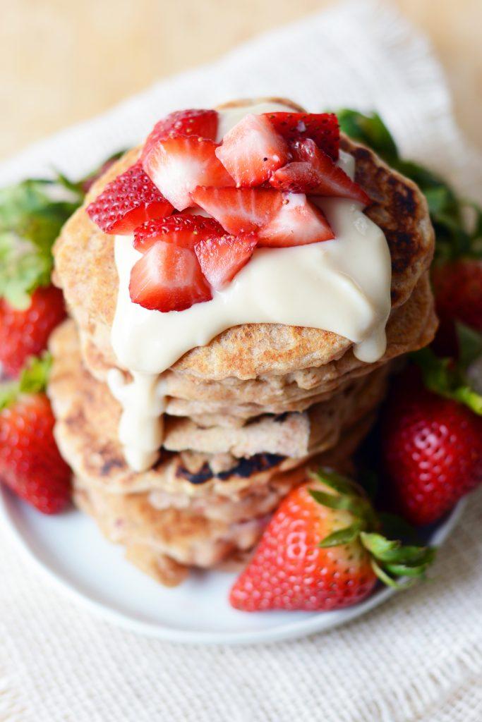 Vegan Strawberry Oatmeal Pancakes